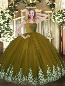 Affordable Brown Straps Neckline Lace and Appliques Quinceanera Gown Sleeveless Zipper