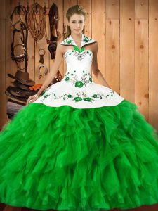 Spectacular Sleeveless Embroidery and Ruffles Lace Up Quinceanera Gowns