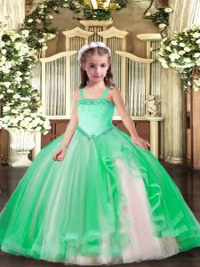 Attractive Turquoise High School Pageant Dress Party and Quinceanera with Appliques Straps Sleeveless Lace Up