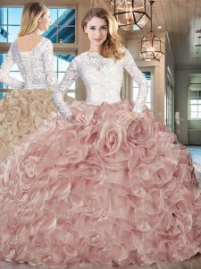 Clearance Long Sleeves Lace and Fading Color Brush Train Lace Up Vestidos de Quinceanera in Champagne with Lace and Ruffles