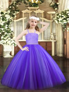Dramatic Tulle Sleeveless Floor Length Little Girl Pageant Dress and Beading and Lace