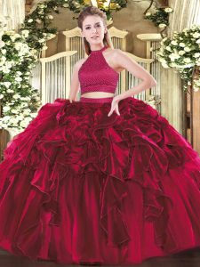 Fuchsia Sleeveless Beading and Ruffles Floor Length Quinceanera Dresses