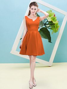 Orange Red Dama Dress for Quinceanera Prom and Party and Wedding Party with Ruching Asymmetric Sleeveless Zipper