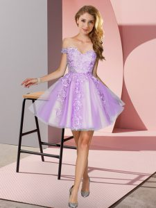 Best Lavender A-line Tulle Off The Shoulder Sleeveless Appliques Mini Length Zipper Quinceanera Court of Honor Dress