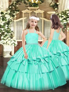 Elegant Sleeveless Floor Length Beading and Lace Zipper Pageant Gowns For Girls with Turquoise