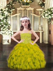Olive Green Organza Lace Up Spaghetti Straps Sleeveless Floor Length Kids Formal Wear Beading and Ruffles