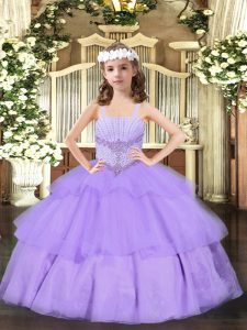 Floor Length Lace Up Little Girls Pageant Dress Wholesale Lavender for Party and Quinceanera with Beading and Ruffled Layers