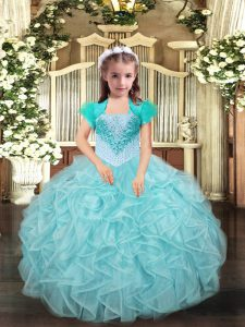 Aqua Blue and Apple Green Kids Pageant Dress Party and Sweet 16 and Quinceanera and Wedding Party with Beading and Ruffles Straps Sleeveless Lace Up