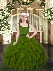 Floor Length Olive Green Pageant Dress for Teens Scoop Sleeveless Zipper