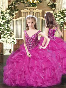 Fuchsia V-neck Neckline Beading and Ruffles Pageant Dress Wholesale Sleeveless Lace Up