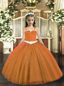 Rust Red Lace Up Pageant Dresses Appliques Sleeveless Floor Length