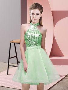 Apple Green Sleeveless Sequins Mini Length Dama Dress for Quinceanera