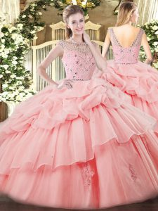 Floor Length Ball Gowns Sleeveless Baby Pink Sweet 16 Dress Zipper