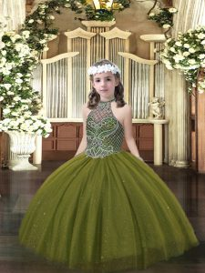 Olive Green Sleeveless Floor Length Beading Lace Up Pageant Dress Womens