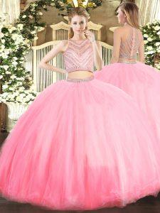 Baby Pink Scoop Zipper Beading Sweet 16 Dress Sleeveless
