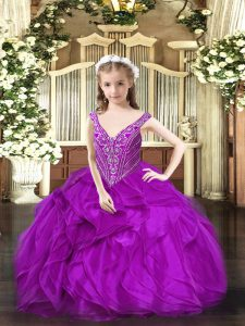 Admirable Purple Ball Gowns V-neck Sleeveless Organza Floor Length Lace Up Beading and Ruffles Little Girls Pageant Dress Wholesale