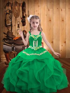 Embroidery and Ruffles Pageant Dress Womens Turquoise Lace Up Sleeveless Floor Length