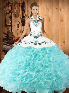 Designer Floor Length Aqua Blue Quinceanera Dresses Halter Top Sleeveless Lace Up