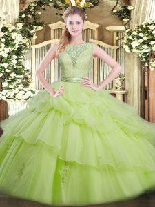 Attractive Floor Length Yellow Green Vestidos de Quinceanera Scoop Sleeveless Backless