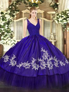 Floor Length Zipper Quinceanera Gowns Purple for Sweet 16 and Quinceanera with Beading and Appliques
