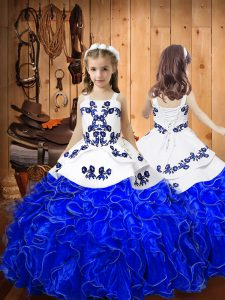 Embroidery and Ruffles Evening Gowns Royal Blue Lace Up Sleeveless Floor Length