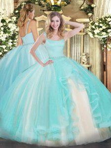 Sleeveless Tulle Floor Length Zipper Sweet 16 Dresses in Aqua Blue with Beading