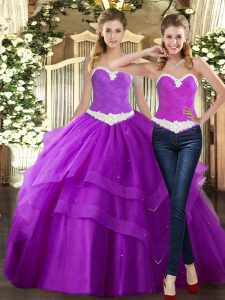 Tulle Sweetheart Sleeveless Lace Up Beading and Ruching 15th Birthday Dress in Purple
