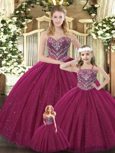 New Style Burgundy Ball Gowns Tulle Sweetheart Sleeveless Beading Floor Length Lace Up 15 Quinceanera Dress