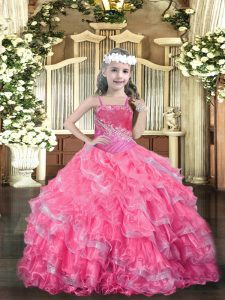 Floor Length Ball Gowns Sleeveless Hot Pink Pageant Dress Toddler Lace Up