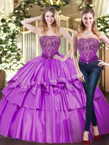 Trendy Eggplant Purple Ball Gowns Strapless Sleeveless Tulle Floor Length Lace Up Beading and Ruffled Layers Vestidos de Quinceanera