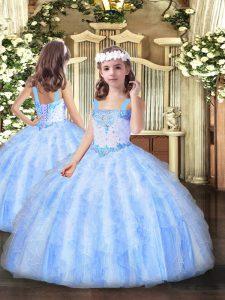 Affordable Light Blue Sleeveless Beading and Ruffles Floor Length Kids Pageant Dress