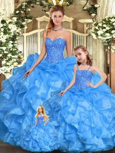 Most Popular Sweetheart Sleeveless Organza Quinceanera Gown Beading and Ruffles Lace Up