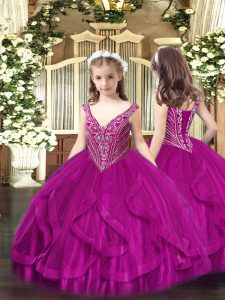 Fashion Ball Gowns Girls Pageant Dresses Fuchsia V-neck Tulle Sleeveless Floor Length Lace Up