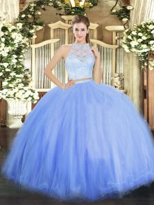 Sophisticated Sleeveless Tulle Floor Length Zipper Sweet 16 Quinceanera Dress in Blue with Lace