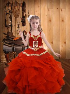 Exquisite Coral Red Ball Gowns Embroidery and Ruffles Child Pageant Dress Lace Up Organza Sleeveless Floor Length