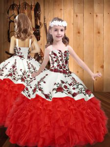 Red Ball Gowns Straps Sleeveless Organza Floor Length Lace Up Embroidery and Ruffles High School Pageant Dress