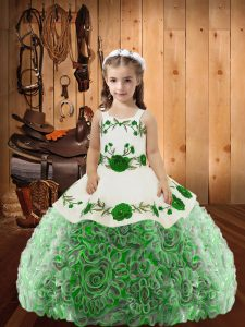 Floor Length Multi-color Pageant Dress for Womens Fabric With Rolling Flowers Sleeveless Embroidery and Ruffles