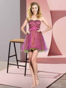 Multi-color Empire Beading and Sequins Dama Dress for Quinceanera Lace Up Tulle Sleeveless Mini Length