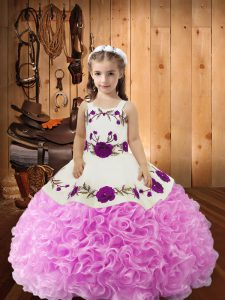 Elegant Embroidery and Ruffles Pageant Dress for Womens Lilac Lace Up Sleeveless Floor Length