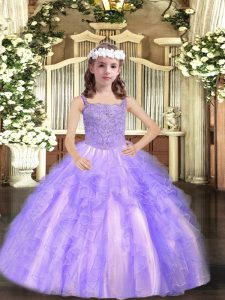Lavender Straps Lace Up Beading and Ruffles Winning Pageant Gowns Sleeveless