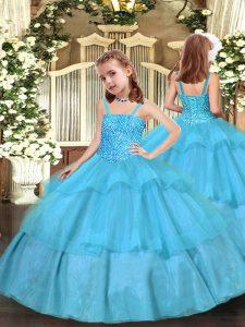 Graceful Straps Sleeveless Kids Pageant Dress Floor Length Beading and Ruffled Layers Aqua Blue Organza
