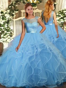 Baby Blue Ball Gowns Scoop Sleeveless Tulle Floor Length Backless Lace and Ruffles Sweet 16 Quinceanera Dress