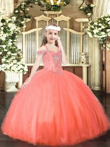 Floor Length Ball Gowns Sleeveless Coral Red Girls Pageant Dresses Lace Up