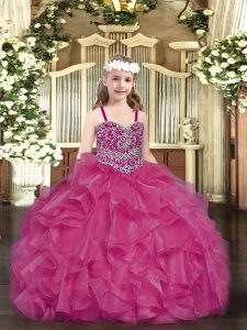Floor Length Fuchsia Pageant Dress for Girls Organza Sleeveless Beading and Ruffles
