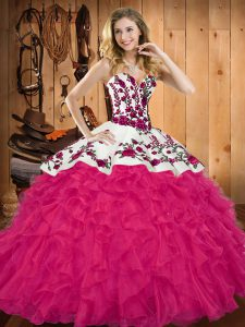 Amazing Hot Pink Sleeveless Floor Length Embroidery and Ruffles Lace Up Vestidos de Quinceanera