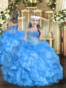 Baby Blue Organza Lace Up Girls Pageant Dresses Sleeveless Floor Length Beading and Ruffled Layers