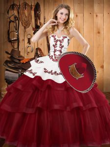 Smart Burgundy Ball Gowns Tulle Strapless Sleeveless Embroidery and Ruffled Layers Lace Up Sweet 16 Dresses Sweep Train
