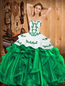 Green Ball Gowns Satin and Organza Strapless Sleeveless Embroidery and Ruffles Floor Length Lace Up Quinceanera Dresses