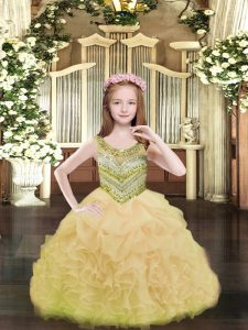 Beading and Ruffles and Pick Ups Kids Formal Wear Gold Lace Up Sleeveless Floor Length