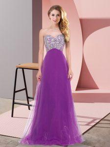 Exceptional Sweetheart Sleeveless Lace Up Damas Dress Eggplant Purple Tulle